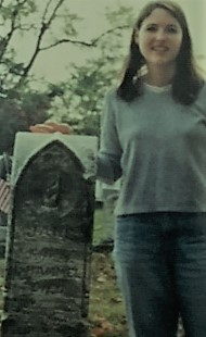 I am headed UP!    At my 3 times great grandma's grave in 2000.
